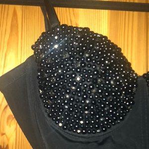 Tops - NWOT Black beaded corset